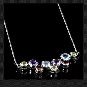 Real gemstones set in 925 sterling silver Necklace